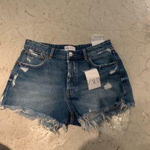 NWT ZARA cutoffs Jean denim shorts 8 40
